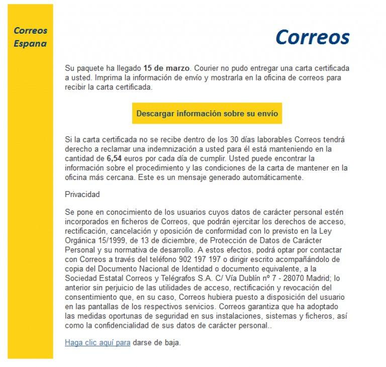 Aspecto del email fraudulento que suplanta a Correos